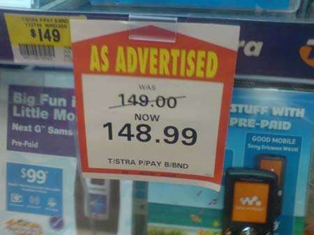 "A coupon saying ""Was 149.00... now 148.99"""
