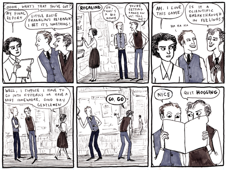 "A comic on Rosalind Franklin from Kate Beaton's webcomic ""Hark! A Vagrant"""