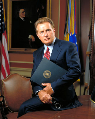 "Martin Sheen playing President Bartlet on ""The West Wing"""