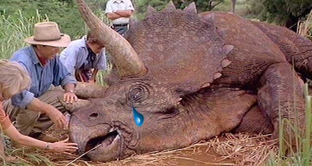 The triceratops scene from Jurassic Park, with a tear added to the dinosaur's face