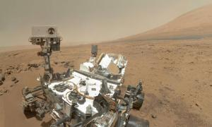 A NASA photo of the Curiosity rover on the surface of Mars.