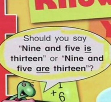 "A cartoon turtle says, ""Should you say 'Nine and five is thirteen"" or ""Nine and five are thirteen""?"