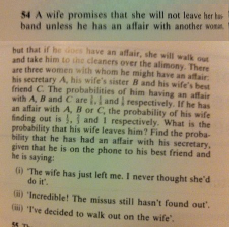 A creepy statistics problems about the probability of a marriage falling apart.